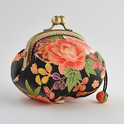 Hand crafted gold embossed Japanese cotton coin purse collectable #0029