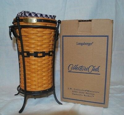 Longaberger JW Collection Miniature 2003-2004 Edition Umbrella Basket and Stand