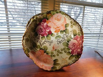 Nippon Hand Painted Bowl with roses comes with hanger