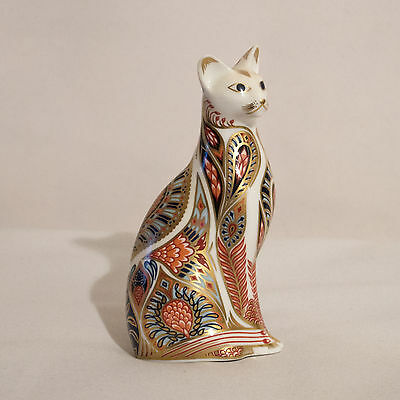 Royal Crown Derby Siamese Cat Paperweight Gold Stopper
