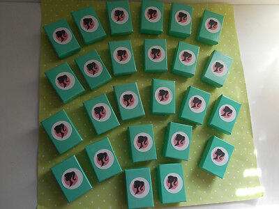 "Vintage BARBIE SILHOUETTE TEAL BLUE SHOE BOXES LOT OF 25 - 1 7/8"" x 1 1/4"" x 5/8"