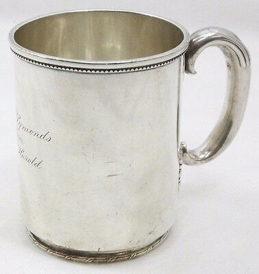 1900's Tiffany & Co. Makers Sterling Silver Mug Cup Engraved - 204.4 grams