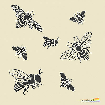 Bumble Bees Stencil Template:   Scrapbooking, Airbrushing, Art:    ST48A5
