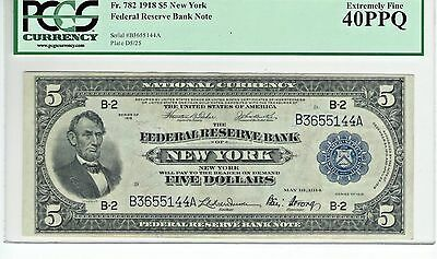 Fr. 782 1918 $5  FEDERAL RESERVE BANK NOTE   PCGS GRADED: EXTREMELY FINE 40PPQ