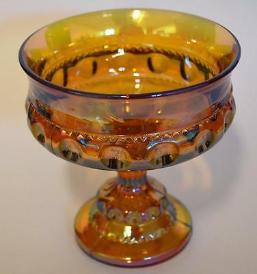 Indiana Kings King's Crown Thumbprint Amber Iridescent Carnival Glass Compote