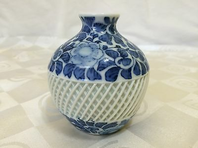 Antique Japanese Porcelain Vase Takashimaya Blue and White Floral Lattice