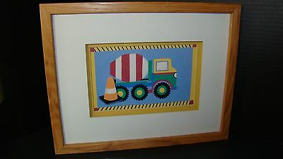 Framed Kris Banks Cement Truck Print For Little Boy's Room Or Nursery