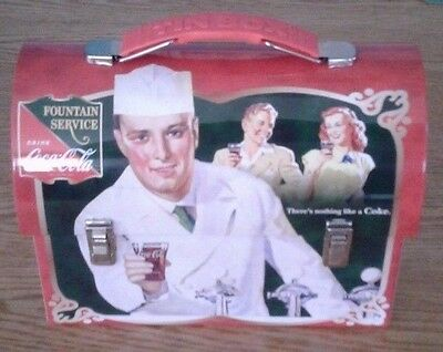 COCA-COLA, Fauntain Service, WORKMANS CARRY-ALL METAL Lunch Box