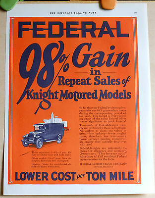 Vintage 1926 ad for Federal Trucks - Knight motored models = repeat sales
