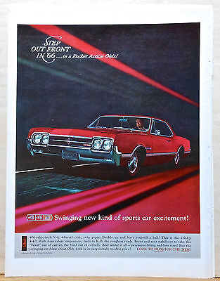 1965 magazine ad for Oldsmobile - red 1966 Olds 442, Swinging new sports car