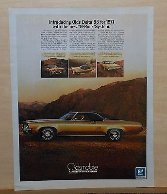 1971 magazine ad for Oldsmobile - Delta 88 with G-Ride system