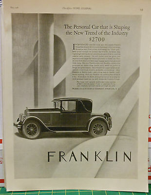 Vintage 1926 magazine ad for the Franklin Coupe' - New trend of the Industry