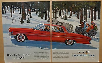 1960 two page magazine ad for Oldsmobile - Holiday ad, Super 88 vs. sleigh