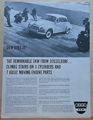 Vintage 1959 magazine ad for DKW - From Dusseldorf. Climbs stairs on 3 cylinders