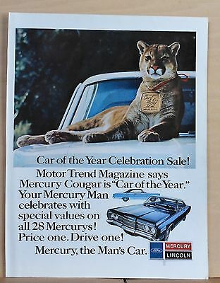 1967 magazine ad for Mercury - Car of the Year celebration, cougar cat on car