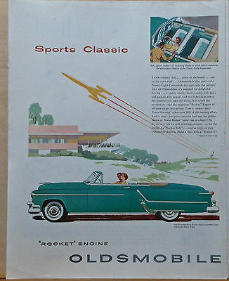 1950's magazine ad for Oldsmobile - Green 98 Convertible Coupe, Sports Classic