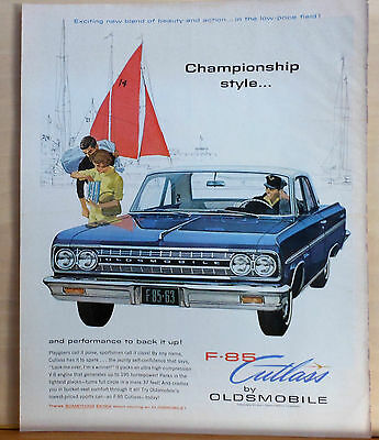1963 magazine ad for Oldsmobile - Olds F-85 Cutlass Championship Style