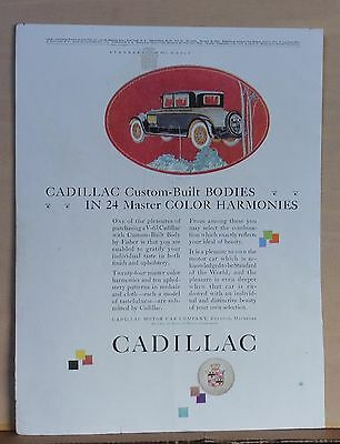 1925 magazine ad for Cadillac - Custom built bodies with master color harmonies