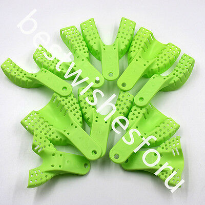 10 Pc/st Dental Disposable Plastic Impression Trays Autoclavable Holder Denture