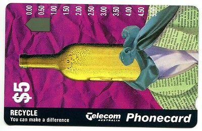 Telecom Phonecard - Environment Recycle Wine Bottle $5 - Mint Unused