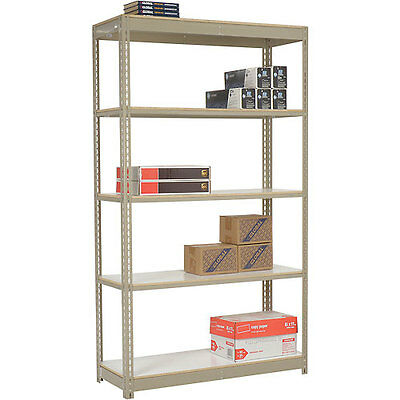 "Heavy Duty Tan Shelving 48""W x 12""D x 84""H With 5 Shelves, Laminate Deck"
