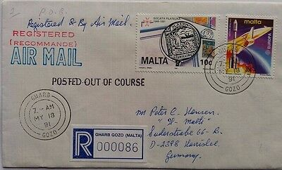 Malta 1991 Gharb Gozo Registered Cover With Posted Out Of Course Cachet