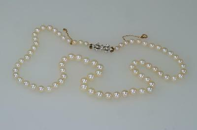 Antique Single Strand Pearl Necklace Old Cut Diamond Plat Clasp Edwardian ca1910