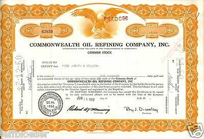 STOCK-Commonwealth Oil Refining Company Incorporated 100 Share Certificate-1959