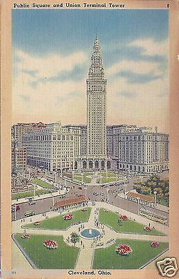 OH-Public Square and Union Terminal Tower-Cleveland Ohio-Vintage Collectible
