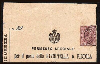 1901 Italy Italian carry permit for Revolver or Pistol - these are seldom seen