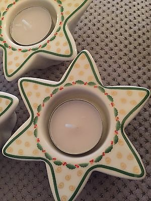 X3 Christmas Candle Tea Light Holders Holly Detail