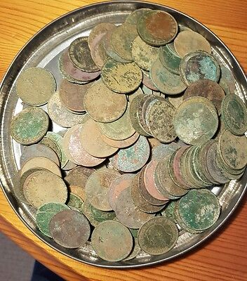 Metal Detecting Finds - 120 old British Pennies