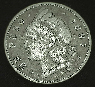 1897 Silver Dominican Republic Peso Crown Sized Coin VF