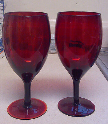 Red Optic Glass Goblet Pair Ribbed Water Wine Amberina Goblets Solid Red