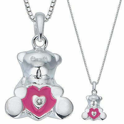 D For Diamond Teddy Bear Diamond Set Sterling Silver Pendant & Necklace Is Boxed