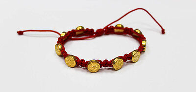 St.Benedict Red Cord Bracelete Gold Metal Medal Beads Adjustable Saint Benedict