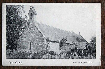 Posted 1904 Printed Postcard Herefordshire Eyton All Saint's Church Leominster