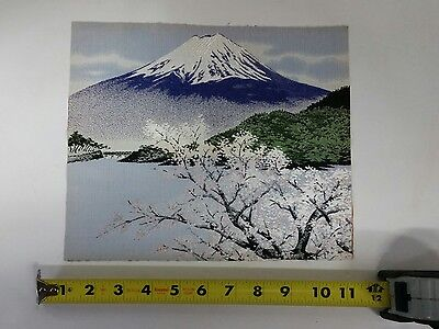 Japanese REAL SILK Hand Loom Woven Mt. FUJI Cherry Blossoms Water Trees