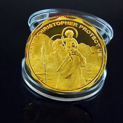 ST SAINT Christopher 1oz Gold Plated Coin Travel Charm PROTECTION FOR TRAVELERS