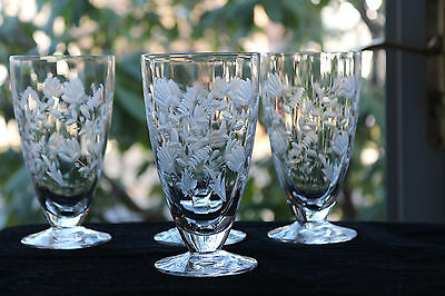 Gorgeous, Libbey Rock Sharpe Water Goblets (4) Hand Cut, Engraved #2009-5