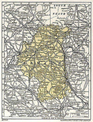 1923 map of Ireland: County Armagh antique ready-mounted print SUPERB
