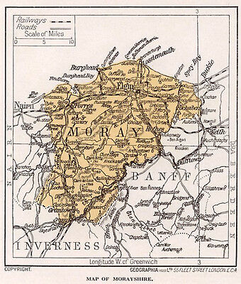 1923 map of Scotland: old Morayshire ready-mounted antique print SUPERB