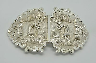 STUNNING SOLID SILVER INDIAN BELT BUCKLE DADAY KHAN MADRAS - GOOD CONDITION 102g