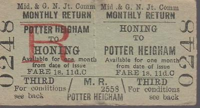 Midland & Great Northern JOINT Railway Ticket HONING 0248