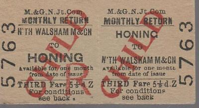 Midland & Great Northern JOINT Railway Ticket HONING 5763