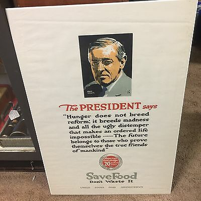 WW1 United States Food Administration Propaganda Poster The President Says