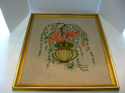 Asian Hand-Embroidered Bonsai Tree Linen Tapestry Signed Dated Framed Picture