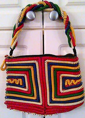 Vintage 40'S TELEPHONE CORD Handbag Purse Leather Lined Primary Colors
