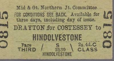 Midland & Great Northern JOINT Railway Ticket DRAYTON FOR COSTESSEY 0815