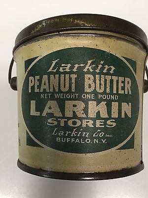 """Vintage"""" Larkin"""" Peanut Butter 16 oz. Pail with Lid and Bail"""